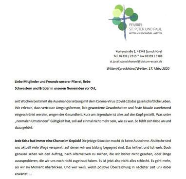 Anfang des sechsseitigen Rundbriefs vom 17.03.2020