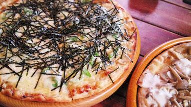 長いもとニンニクの和風ピザ