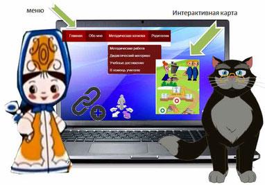 Кот и Наталья обсуждают у компьютера проблемы навигации. На экране показаны фрагмент главного меню и навигационный сервис thinglink