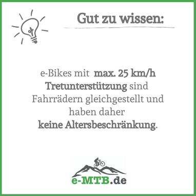 Wissenswert: e-Bikes bis zu 25 km/h Tretunterstützung gelten als Fahrrad