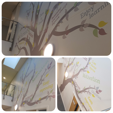 A collage of images showing a wall decor tree with inspirational wording mixed in with the leaves.