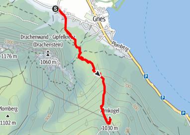 Routenverlauf vom Gasthof Drachenwand auf den Almkogel