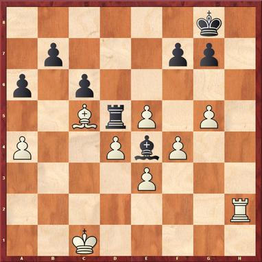 Margenberg - Pfennig,M: Hier zog Schwarz das selbstmörderische 34. ... g6?? wonach Schwarz mit 35.Le7! den Sack zu machen konnte