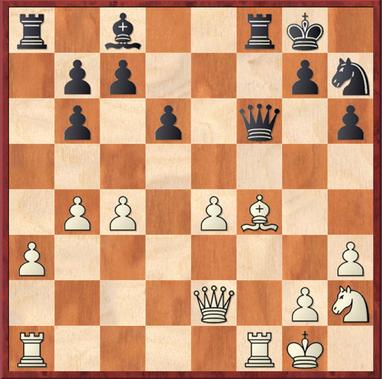 Block - Schürmann: Schwarz zog 17. ... Dg6? Chancen auf Vorteil versprach dagegen 17. ... Dd4+! mit Bauerngewinn