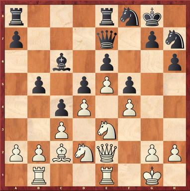 Gottas - Vishanji,F: Stellung nach 21. ... f5 - Weiß hätte hier mit 22.g4! Linien gegen den König öffnen können. Aber auch nach 22.exf6 Dxf6 hätte er mit 23.Sg4! in deutlichen Vorteil kommen können.