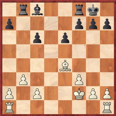 Milde - Rittel: Stellung nach 17. Lxe4 mit leichtem Vorteil für Weiß