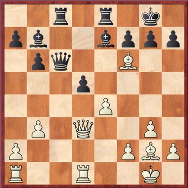 Wang - Straßner: 18. ... dxe4 ? 19. Lxd7! und Weiß gewinnt die Figur zurück