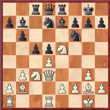 Wang - Straßner: Stellung nach 15. Se5? - mit dem Zwischenzug 15. ... cxd4 gewinnt Schwarz eine Figur