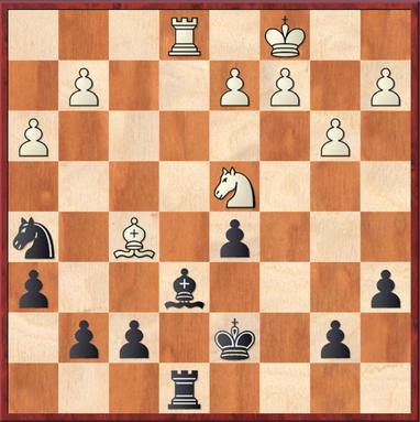 Hamburger - Sebastian: Stellung nach 22. ... Te8. Weiß gewann Material durch 23. Sxe6!