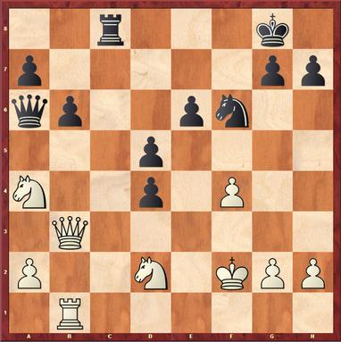 Vishanji,A - Mauelshagen: Schwarz spielte hier das starke 21. ... Da5! wonach Weiß Materialverlust nicht mehr vermeiden kann