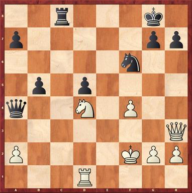 Vishanji,A - Mauelshagen: Schwarz gewann hier mit 27. ... Se4+ 28.Ke1 Dxd1+ 29.Kxd1 Sf2+ 30.Kd2 Sxh3 31.gxh3 a6 - die Mehrqualität reichte nach ein paar weiteren Zügen zum sicheren Sieg.