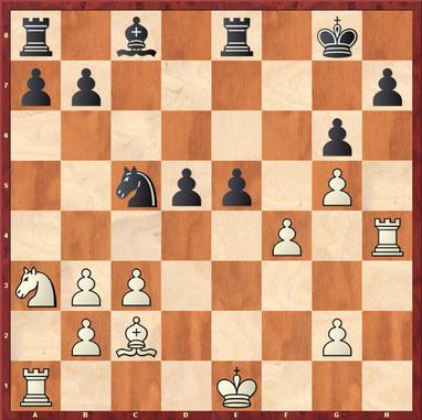 Hemmings - Hein: Stellung nach 20. ... e5, hier konterte Weiß stark mit 21.0-0-0! verpasste jedoch im Anschluss die stärkste Fortsetzung und konnte nicht verhindern das Schwarz die Stellung ausglich.