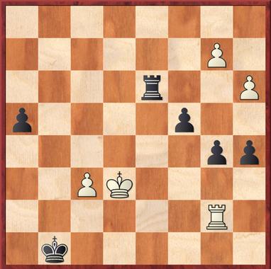 Sailer - Mauelshagen: Stellung nach 45. exf6 (Tb8+ hält das Gleichgewicht!), hier kam Schwarz durch Te3+ auf die Siegestraße, da der weiße König auf ein schlechtes Feld gezwungen wird und den Freibauern nicht mehr unterstützen kann.