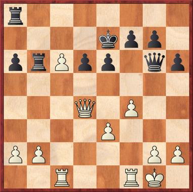 Lehmann - Lemmer: Stellung nach 21. Dd4 mit perfekter Zentralisierung der Dame - es folgten noch e4, nebst Tfd1 und Öffnung des Zentrums wonach der weiße König nach Damentausch entscheidend ins Geschehen eingriff