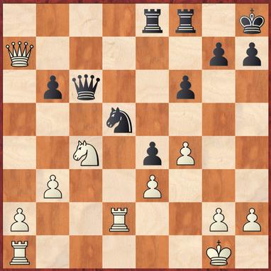 Mauelshagen - Dickel: Hier zog Weiß stark 27.Da3! um auf Sxe3?! 28.Dd6! zu antworten mit Tausch der Damen und Gewinn des schwarzen e4 Bauern