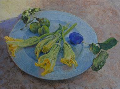 「プルーンとズッキーニの花」油彩・板 15x20cm