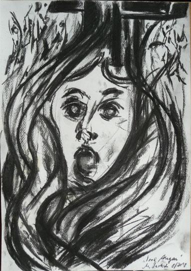 Irre Augen - false eyes, Kohle/ Papier 42x35