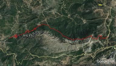 Übersichtskarte - Wanderstrecke in Google Earth
