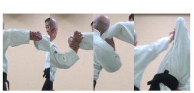 画像②a 右逆半身片手取り外転換外巡り・肘を落として母指球外側を受けの手首外側に接してそれを支点として側頸で回内し・陰の陽で受けの手首を下から包み・一気に回外して外入り身で母指球を突き出す