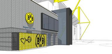 wand der liebe puma bvb dortmund signal iduna  park stadion drahtler architekten planungsgruppe visualisierung stadion