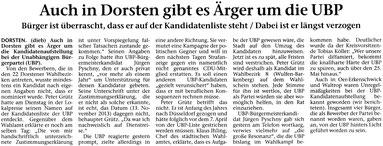 Artikel in der STIMBERG ZEITUNG am 17. April 2014: Auch in Dorsten gibt es Ärger
