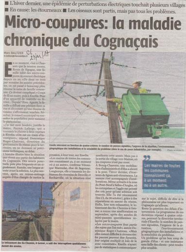 Article Charente Libre (Marc Baltzer) du 23 novembre 2017. Faire un clic sur l'image pour l'agrandir.