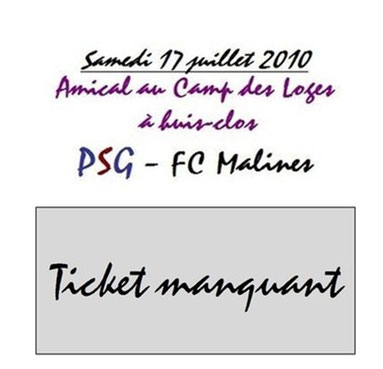 Ticket  PSG-FC Malines  2010-11