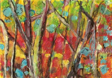 pastels et peinture de forêt