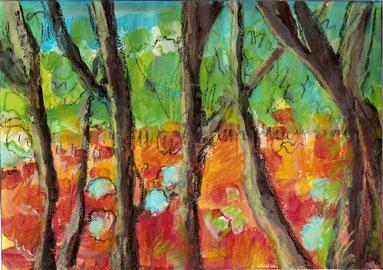 pastels et acrylique sur papier
