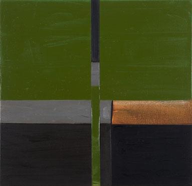 Atelierfenster grün (205) 1995 Ölfarbe, Klebestreifen 80,5 x 83 cm