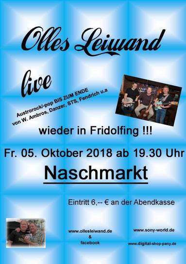 Olles Leiwand aus Freilassing spielt Austropop im Naschmarkt Fridolfing