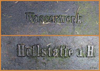 Inschrift der Brunnenanlagen / Wasserwerk Heilstätte a.H