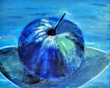 """Mein gemaler """"blauer"""" Apfel. (Fleissarbeit im Malkurs)"""