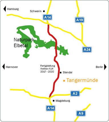 Neubau der A14. Voraussichtliche Fertigstellung 2020.  Tangermünde ist dann über die Bundesstraße in nur 16 km erreichbar.