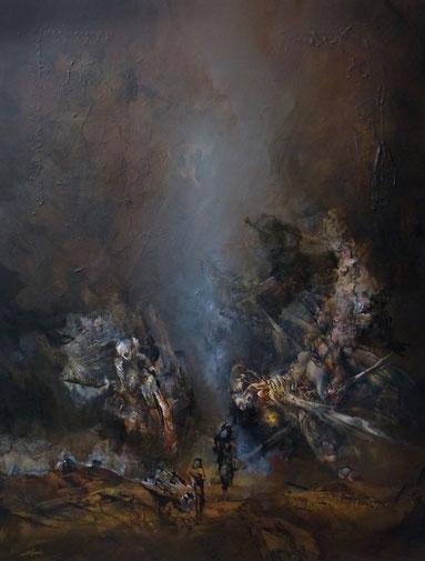 """""""Les anges attendront"""" Acrylique sur toile Dim 130cmx97cm"""