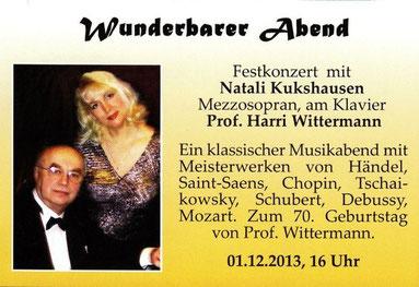 Wunderbarer Abend im Meistersaal im Borsigturm vom 01.12.2013