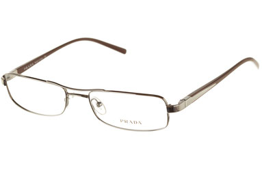 Occhiali da vista Prada uomo 50LV 1BO1O1. Colore: marrone. Forma: squadrato. Materiale: metallo.