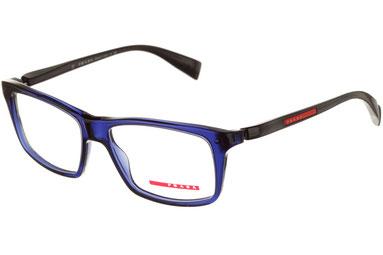 Occhiali da vista Prada Linea Rossa uomo 02BV OAX1O1. Colore: blu. Forma: squadrato. Materiale: plastica.
