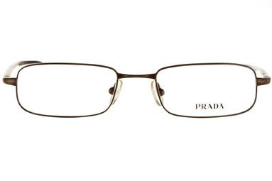 Occhiali da vista Prada uomo 05E 6AY1O1. Colore: marrone. Forma: squadrato. Materiale: metallo.