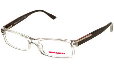 Occhiali da vista Prada Linea Rossa uomo 10AV AAA1O1. Colore: trasparente. Forma: squadrato. Materiale: plastica.