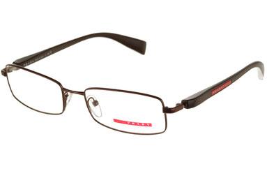Occhiali da vista Prada Linea Rossa uomo 50BV ACD1O1. Colore: marrone. Forma: squadrato. Materiale: metallo.