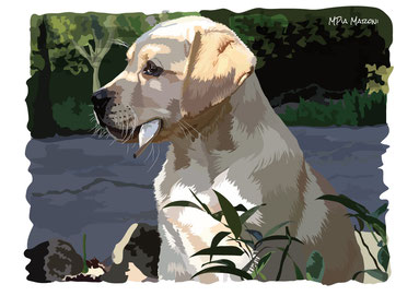 index-image-disegno-drawing-portrait-ritratti realistici cani e gatti-cane-pet dog-animali da compagnia-digital-art-Labrador-seduto-foglia-bocca
