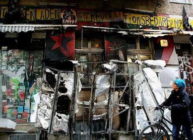 Infoladen M99 efter brandanslaget den 27.oktober 2010
