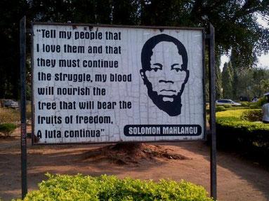 Salamon Mahlangu deltog i den væbnede kamp imod Apartheid- regimet. Blev henrettet den 6. April 1979