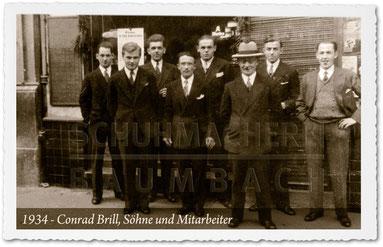 Schuhmacherei Baumbach - 1934 Schuhmachermeister Conrad Brill, Söhne und Mitarbeiter in Wiesbaden