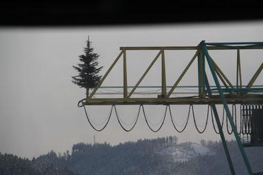 ドイツ製材所 クレーンの上のクリスマスツリー