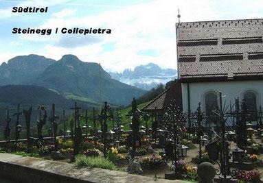 Steinegg (Collepietra) in Südtirol: Panorama beim Friedhof,      Foto: Ochsenreither