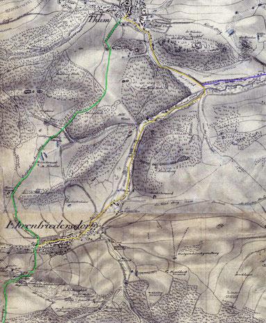 Streckenführung der Poststraße auf einer Karte von 1788