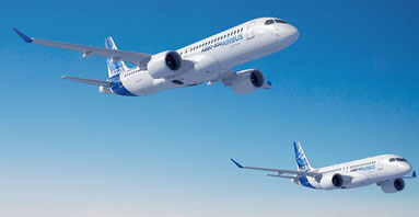 Airbus A220-300 and -100 in flight  -  courtesy: Airbus