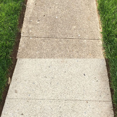 Before and after sidewalk pressure washing in Masterson Station in Lexington, Kentucky.